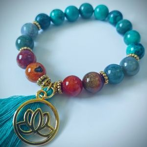Turquoise and agate lotus crystal stretch bracelet